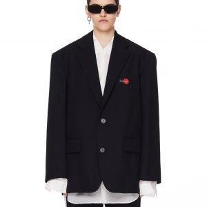 Balenciaga Black Uniform Embroidered Jacket