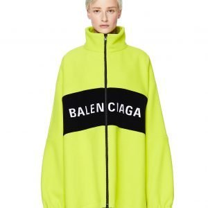 Balenciaga Neon Green Wool Logo Jacket