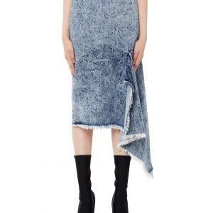 Balenciaga Washed Denim Side Godet Skirt