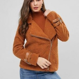 Buckle Inclined Zipper Teddy Coat