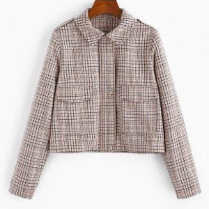 Checked Pocket Shirt Collar Coat