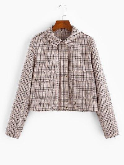 Checked Pocket Shirt Collar Coat