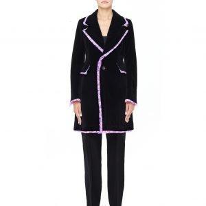 Comme des Garcons Pink Ruffle Trimmed Padded Velvet Coat