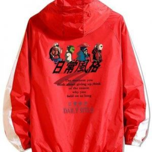 Daily Style Cartoon Graphic Raglan Sleeve Hooded Jacket