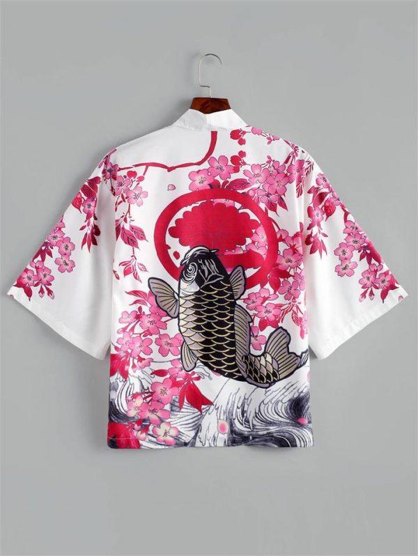 Flower Fish Print Kimono Style Jacket