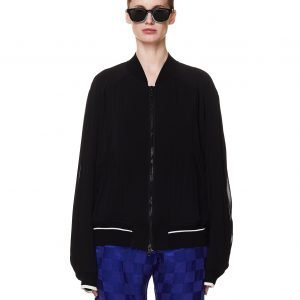 Haider Ackermann Black Silk Bomber Jacket