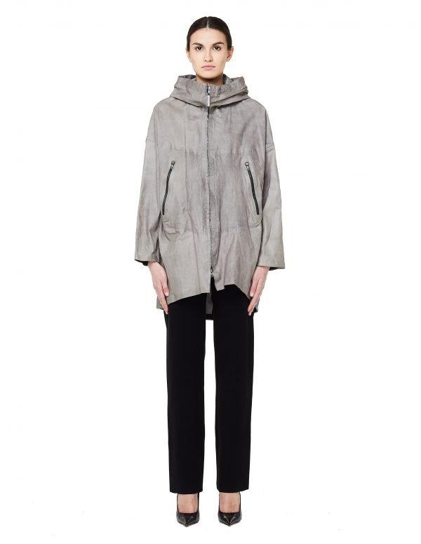 Isaac Sellam Hooded leather parka jacket