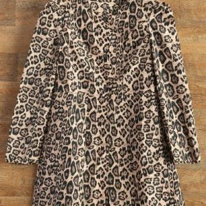 Leopard Print Skirted Coat