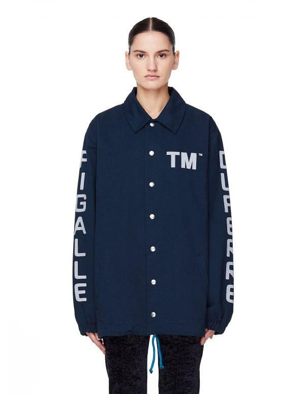 Pigalle Navy Blue Cotton TM Coach Jacket