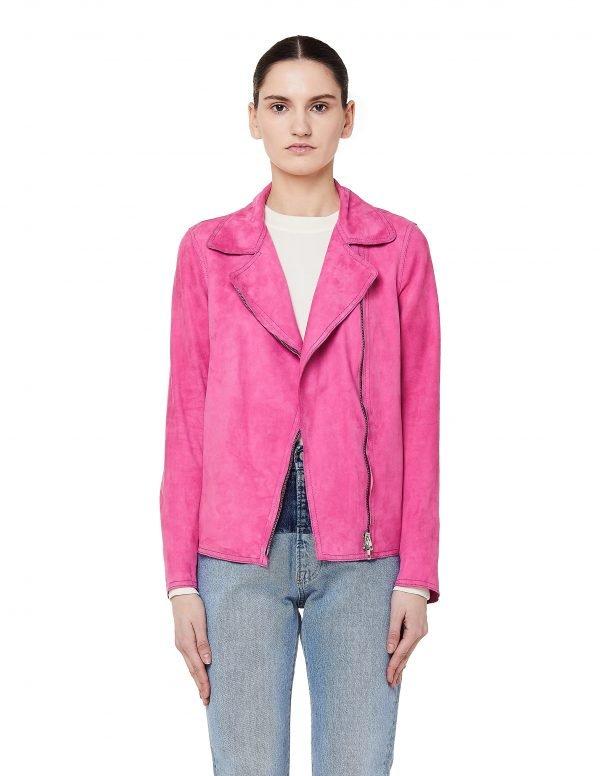 Salvatore Santoro Pink Leather Biker Jacket