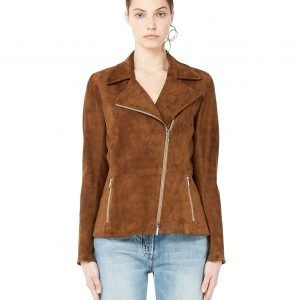 The Row Paylee Brown Suede Biker Jacket