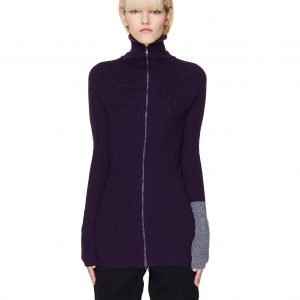 Yohji Yamamoto Purple Rib Knit Zip-Up Sweater
