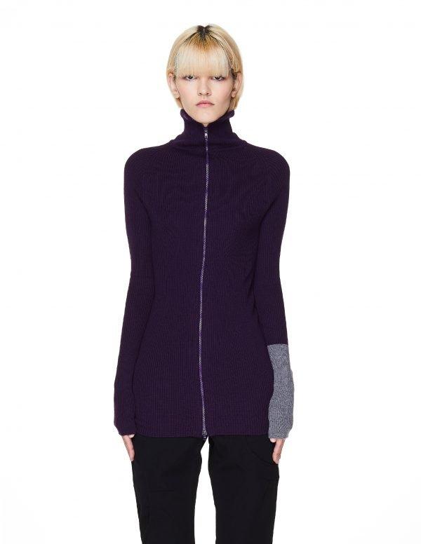 Yohji Yamamoto Purple Rib Knit Zip-Up Sweater