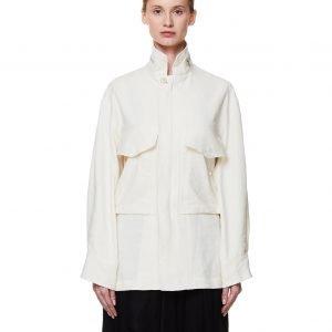 Y's Beige Silk & Linen Cargo Jacket