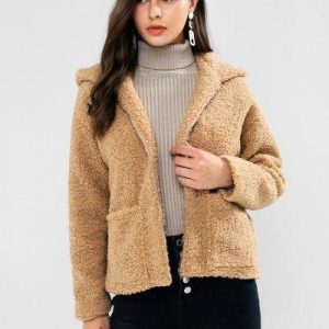 ZAFUL Bear Ear Drop Shoulder Pocket Teddy Coat