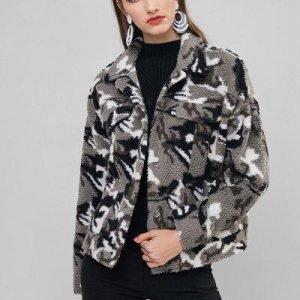 ZAFUL Camo Print Fluffy Faux Fur Coat