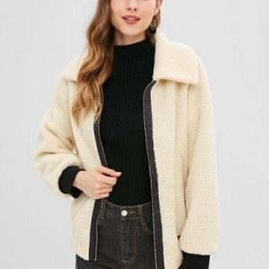 ZAFUL Contrast Edge Zipper Faux Fur Coat