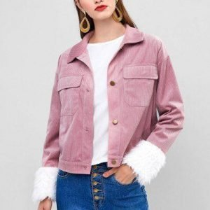 ZAFUL Corduroy Faux Fur Cuffs Pocket Jacket