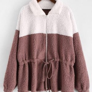 ZAFUL Drawstring Zip Front Two Tone Teddy Jacket