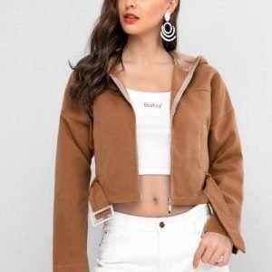 ZAFUL Drop Shoulder Hooded Zip Up Jacket