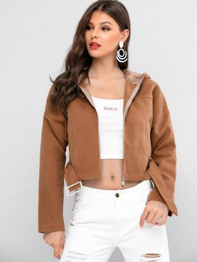 ZAFUL Drop Shoulder Hooded Zip Up Jacket
