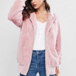 ZAFUL Faux Fur Hooded Zip Pocket Tunic Coat