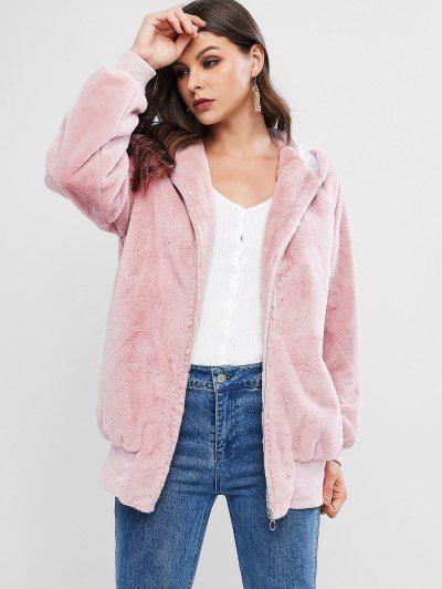 ZAFUL Faux Fur Hooded Zip Pocket Tunic Coat