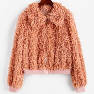 ZAFUL Fluffy Textured Zip Front Jacket