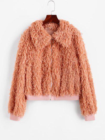 ZAFUL Fluffy Textured Zip Front Jacket