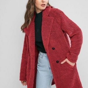ZAFUL Lapel Pocket Longline Faux Fur Coat