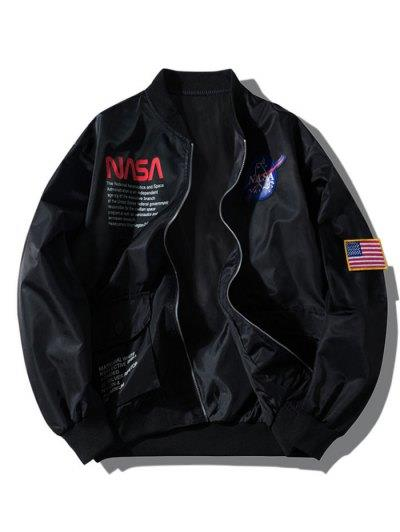 ZAFUL Letter Graphic Embroidery American Flag Applique Pocket Jacket