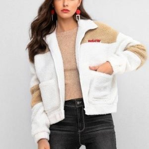 ZAFUL Letter Patched Drop Shoulder Pocket Teddy Coat