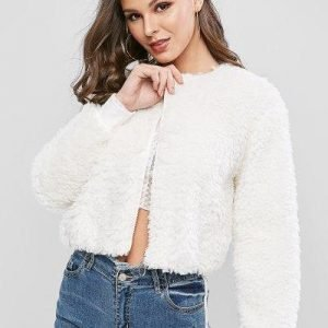 ZAFUL O Ring Zip Up Faux Fur Jacket