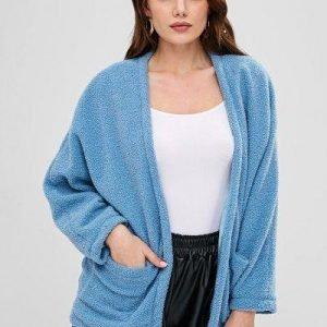 ZAFUL Open Front Pockets Fluffy Coat