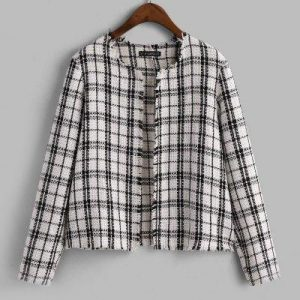 ZAFUL Open Placket Plaid Frayed Tweed Jacket
