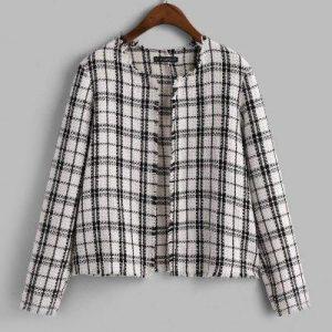 ZAFUL Open Placket Plaid Frayed Tweed Jacket