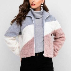 ZAFUL Pockets Colorblock Zip Front Teddy Jacket
