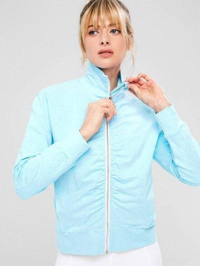 ZAFUL Ruched Zipper Pocket Jacket