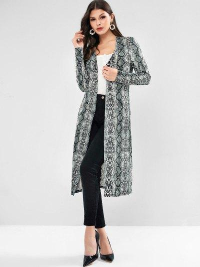 ZAFUL Snakeskin Print Pockets Belted Longline Coat