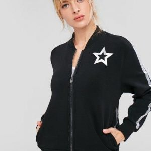 ZAFUL Star Print Zipper Jacket