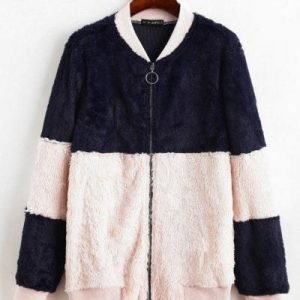 ZAFUL Two Tone Pull Ring Zip Fluffy Teddy Jacket