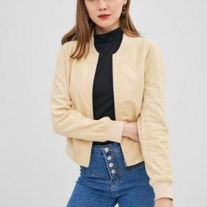 ZAFUL Zip Up Corduroy Pocket Jacket