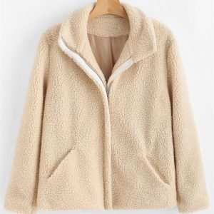 ZAFUL Zip Up Faux Fur Coat
