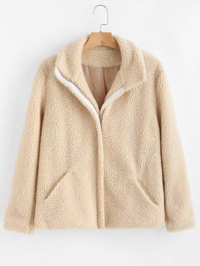 ZAFUL Zip Up Faux Fur Coat