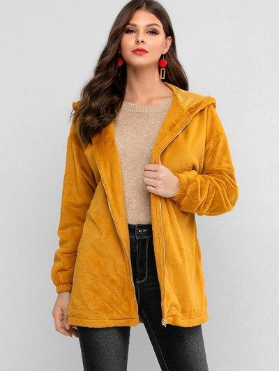 ZAFUL Zip Up Faux Fur Hooded Knotted Coat