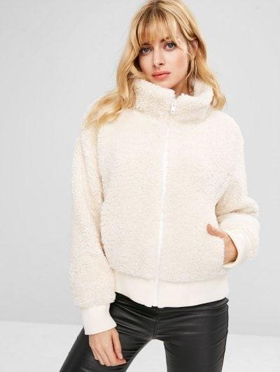 ZAFUL Zip Up Fluffy Faux Shearling Winter Coat