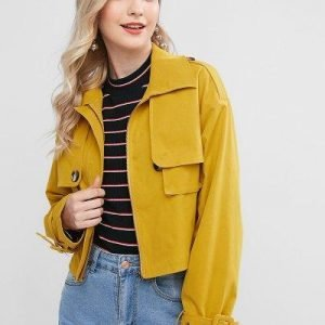 ZAFUL Zip Up Pockets Solid Crop Jacket