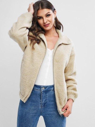 ZAFUL Zipper Drop Shoulder Teddy Coat