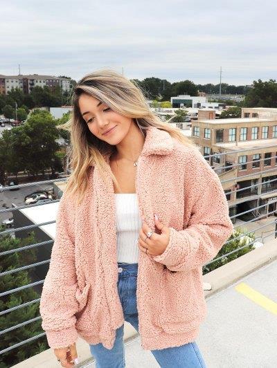 ZAFUL x Yasmine Bateman Pocket Zipper Drop Shoulder Fluffy Teddy Coat