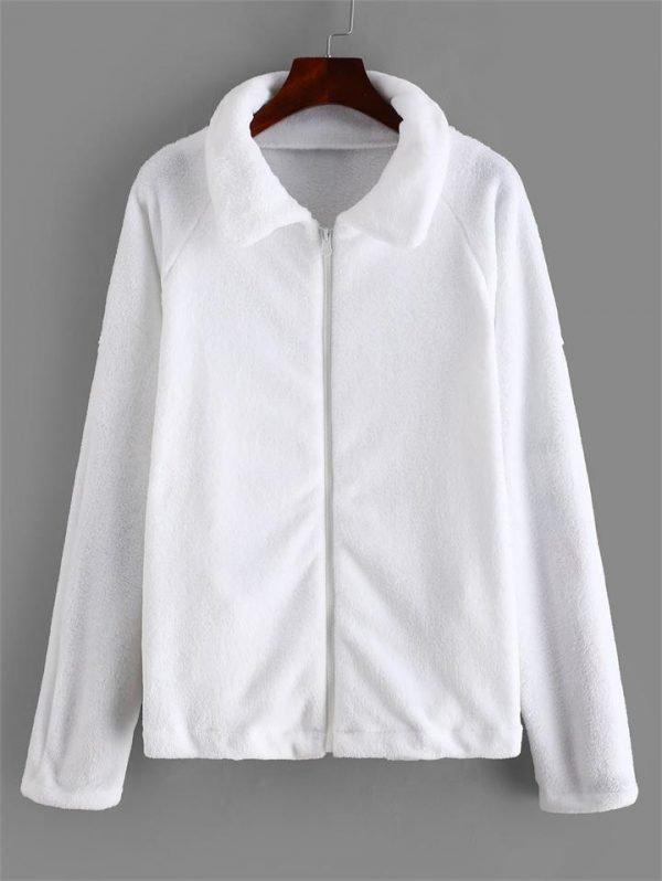 Zipper Raglan Sleeve Fluffy Jacket